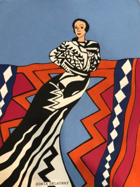 """Sonia Delaunay"" (Part of the suite ""Delaunay, Goncharova, Popova and Me""). Artist: Miriam Schapiro. Silkscreen, custom paper, flocking. 30x22."" 1992"