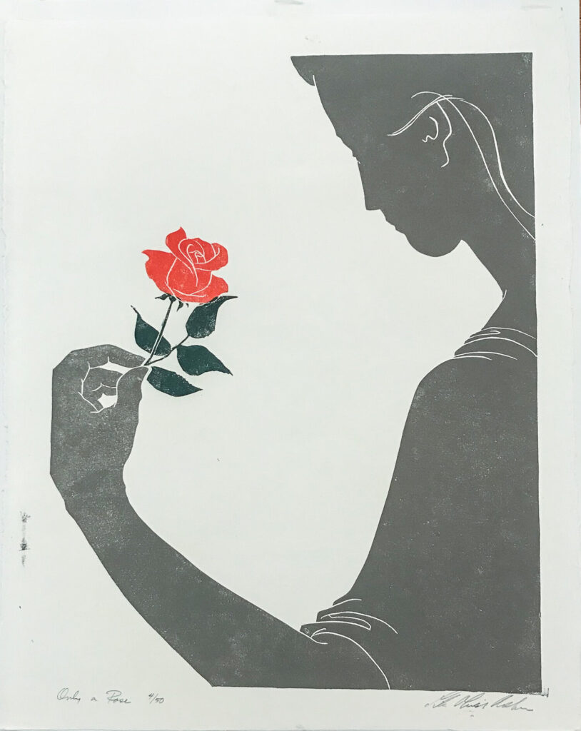 Woman holding a rose