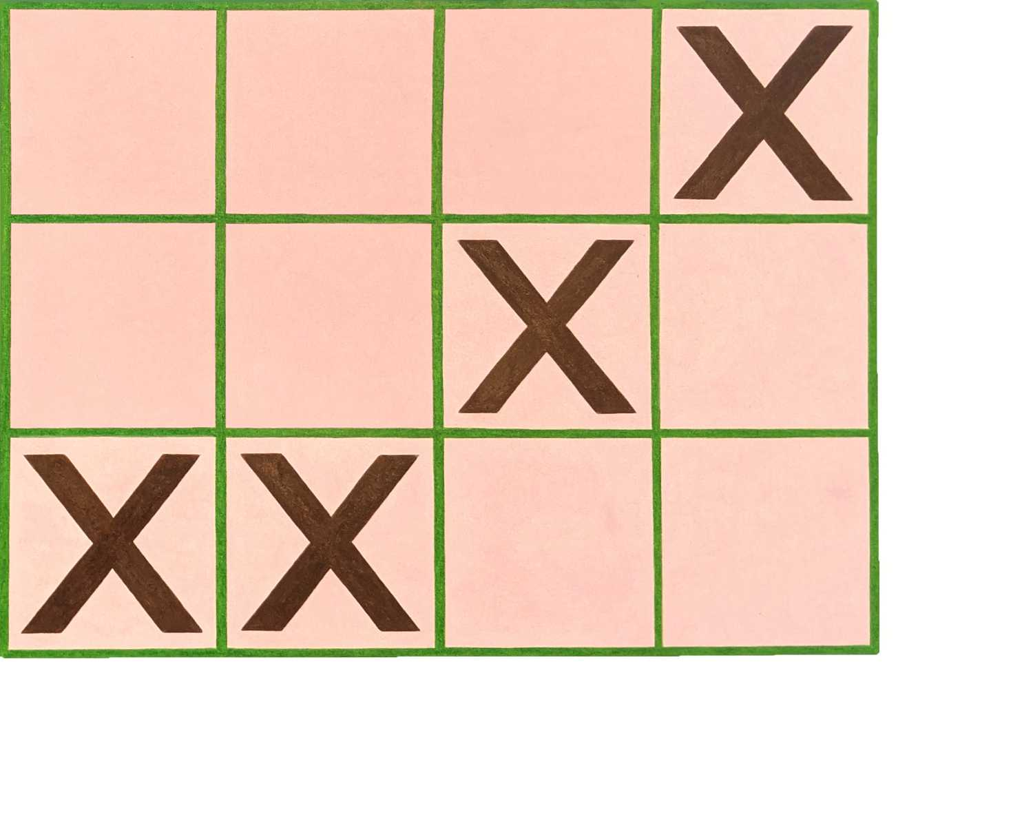 """Pink tic tac toe like board with additional column. Grid image with four columns and three rows composed in green, over a light pink background, bound by white on the right and bottom side. Maroon """"X"""" in:  Column 4, Row 1, Column 3, Row 2, Columns 1 and 2, Row 3."""