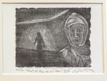 DeNinno, Kristine, Ghost of the Veiled Nun (Corcoran Portfolio), 2015, mezzotint, image size 4 x 5 in