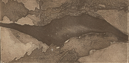 Higley, Kate, Uplands, etching and aquatint, 3 x 6.25 in http://www.katehigleyart.com/