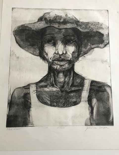 Coupe, Jeanine, Black Man, dated 7/14/71, etching and aquatint, image: 13 in x 15 1/4 in/ sheet: 16 in x 19 1/2 in