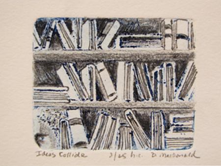 MacDonald, Betty, Ideas Collide, etching 2.25 x 2.875 in
