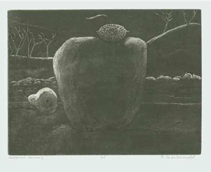 MacDonald, Betty, Nocturnal Harmony, soft-ground etching & aquatint, 5.75 x 7.87 in