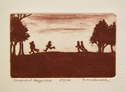 MacDonald, Betty, Pursuit of Happiness, etching 2.375 x 3.875 in