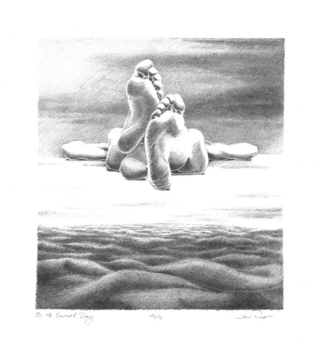 Root, Joan, On the Seventh Day, 1982, Stone Lithograph, 10×9 in.