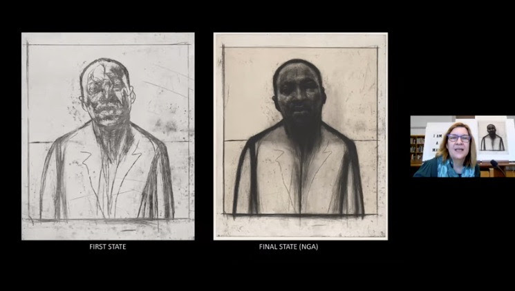 Screenshot during Shelley Langdale presentation with first and final state of MLK Jr print