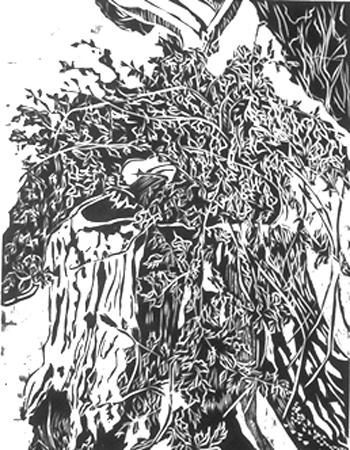 Shleien, Bernard, Stump, woodcut 12 x 9 in
