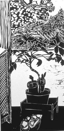 Shleien, Bernard, Tree of Life, woodcut, 20 x 10 in
