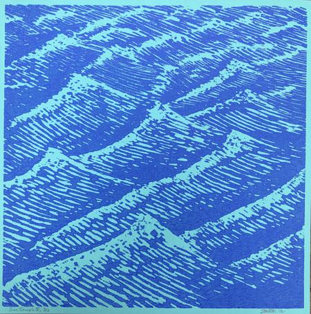 Stockton, Eve, Sea Sample II, woodcut, 12 x12 in., 2012