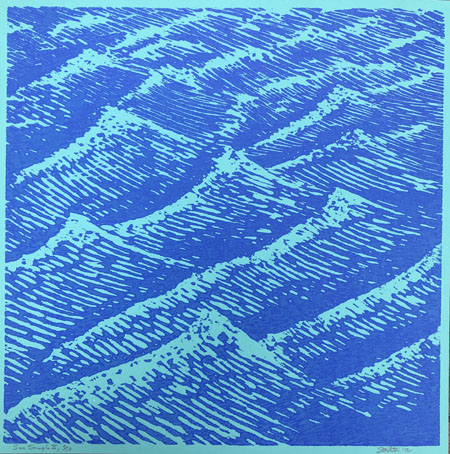 Stockton, Eve, Sea Sample II, woodcut, 12 x12 in., 2012 (four available)