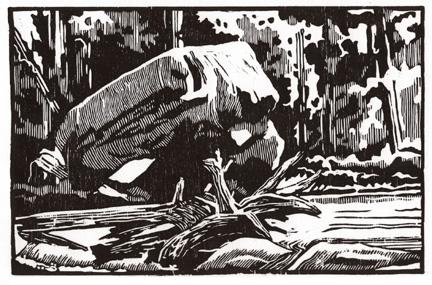 Winkler, Max-Karl, Boulder Island, woodcut, 4.4 x 6.7 in