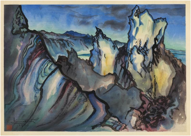 Chiura Obata, Mono Crater, 1930, color woodcut on paper, Smithsonian American Art Museum