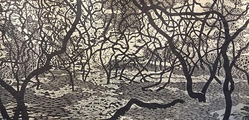 Eve Stockton, Woodland Landscape II, Woodcut on tea-soaked paper, 3'x6'