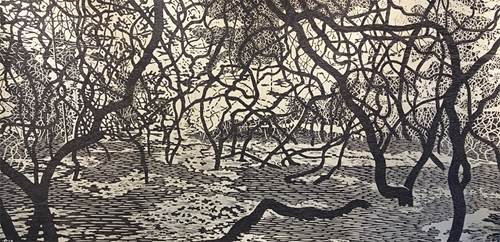 Eve Stockton, Woodland Landscape II, Woodcut on tea-soaked paper, 3'x6'